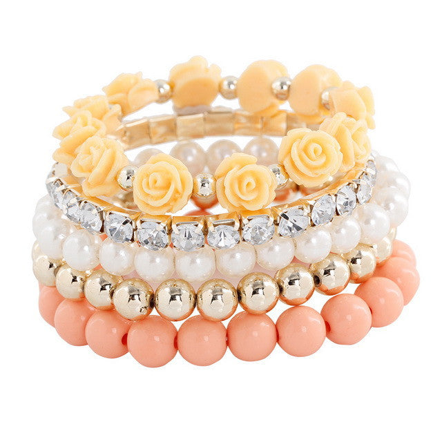 Multistrands Stretch Rose Beaded Bracelet