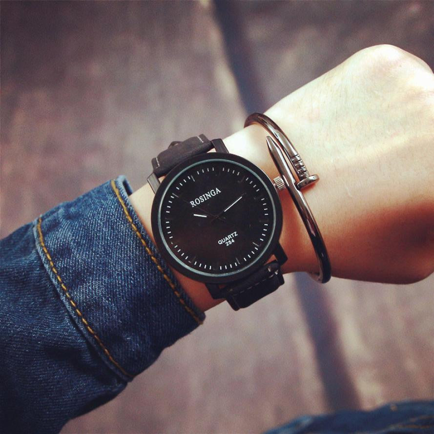 Unisex Faux Leather Strap Watch