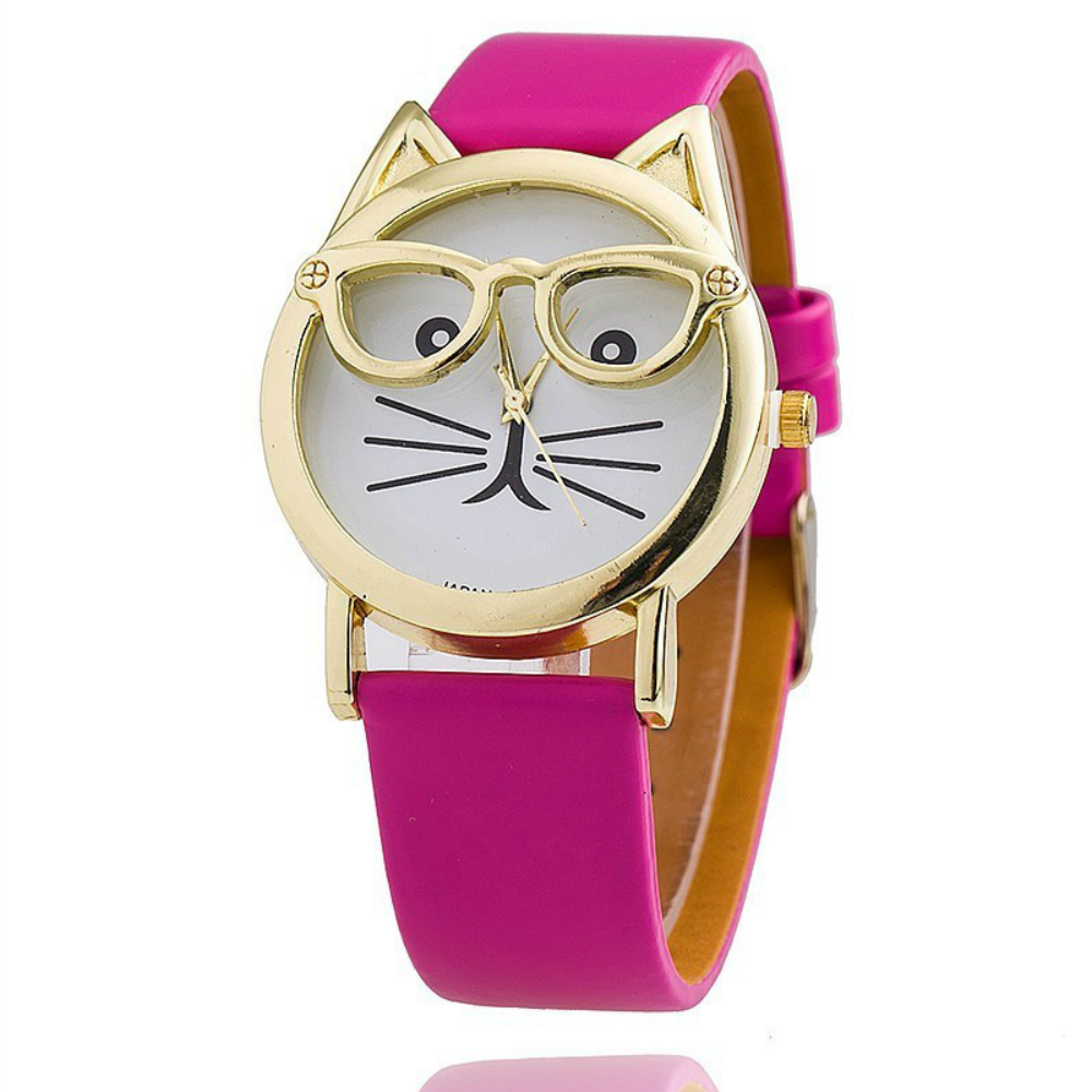 Cat Fashion Faux Leather Strap Wristwatch
