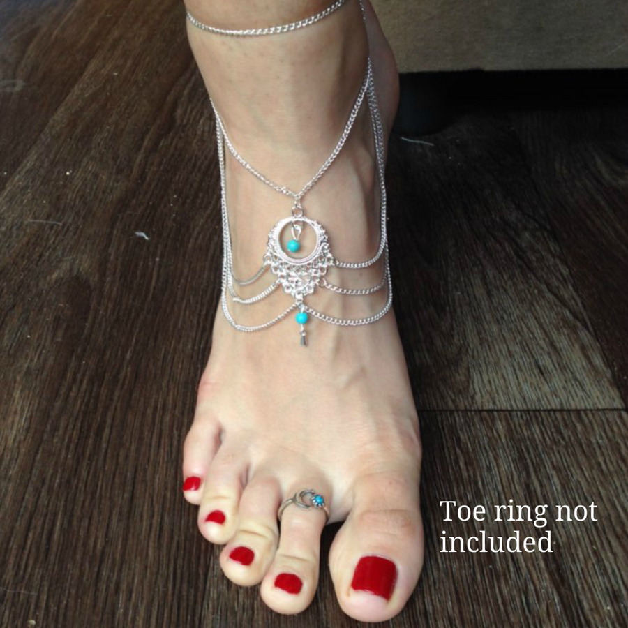 Bohemian Ethnic Turquoise Beads Anklet - Fantasy Jewelry Online