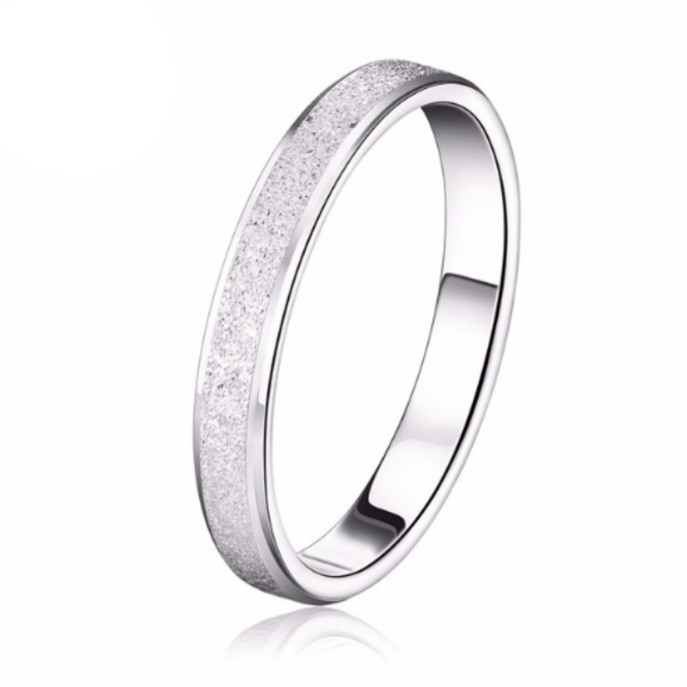 Platinum Plated Frosting Surface Silver Ring
