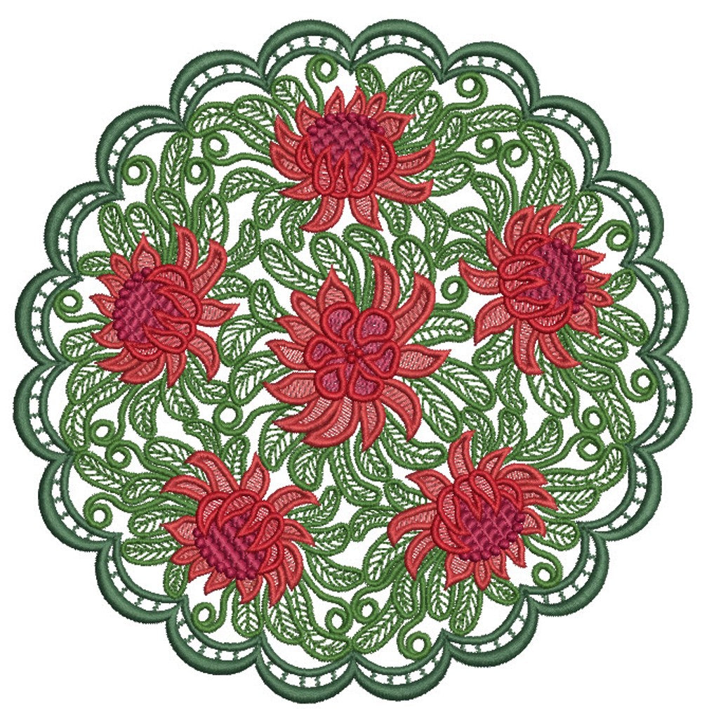 Free-standing Lace Doily - Coloured Native Waratah