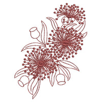 Native Gum Blossoms - Redwork