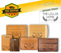 Custom Family Name And Date - Wood Cutting Board - Laser Light Industries