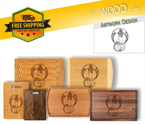Art Deco Mermaid - Wood Cutting Board - Laser Light Industries
