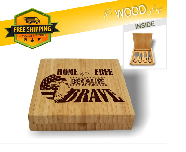 Home of the Free Because of the Brave - Bamboo Cheese Set with 4 Tools - Laser Light Industries