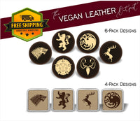 GOT House Sigils  (Game of Thrones Inspired) - 4 And 6 Vegan Leather Coaster Sets - Includes Coaster Holder - Laser Light Industries