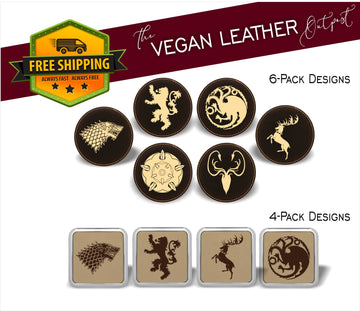 GOT House Sigils  (Game of Thrones Inspired) - 4 And 6 Vegan Leather Coaster Sets - Includes Coaster Holder