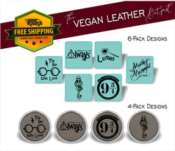 Wizard and Muggle Designs (Harry Potter Inspired) - 4 And 6 Vegan Leather Coaster Sets - Includes Coaster Holder