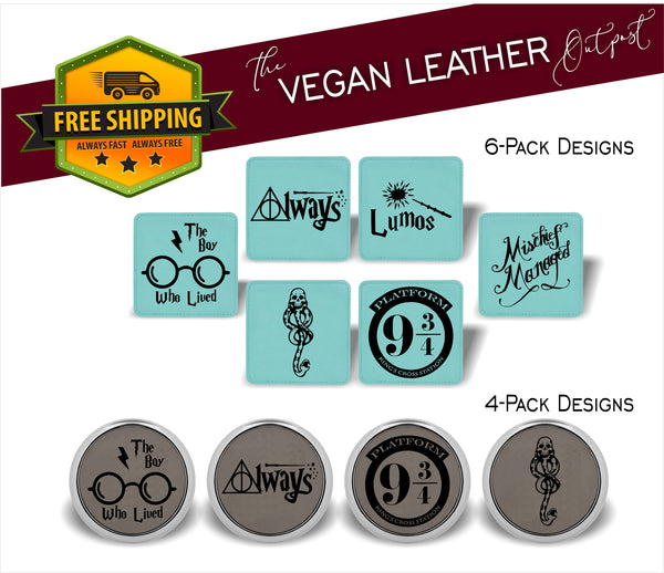 Wizard and Muggle Designs (Harry Potter Inspired) - 4 And 6 Vegan Leather Coaster Sets - Includes Coaster Holder - Laser Light Industries