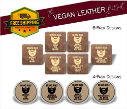 Beard Rules - 4 And 6 Vegan Leather Coaster Sets - Includes Coaster Holder