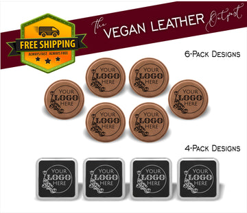 Custom Logo or Design - 4 And 6 Vegan Leather Coaster Sets - Includes Coaster Holder