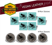 Octopus - 4 And 6 Vegan Leather Coaster Sets - Includes Coaster Holder - Laser Light Industries