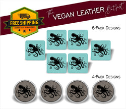 Octopus - 4 And 6 Vegan Leather Coaster Sets - Includes Coaster Holder