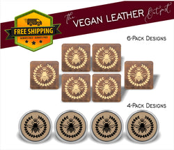 Queen Bee - 4 And 6 Vegan Leather Coaster Sets - Includes Coaster Holder