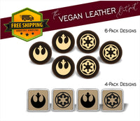 Rebel Alliance vs. Imperial  (Star Wars Inspired) - 4 And 6 Vegan Leather Coaster Sets - Includes Coaster Holder - Laser Light Industries