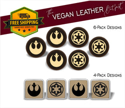 Rebel Alliance vs. Imperial  (Star Wars Inspired) - 4 And 6 Vegan Leather Coaster Sets - Includes Coaster Holder