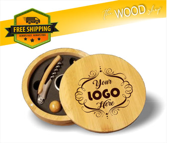 Custom Logo Or Design - Round Bamboo 4-Piece Wine Tool Set