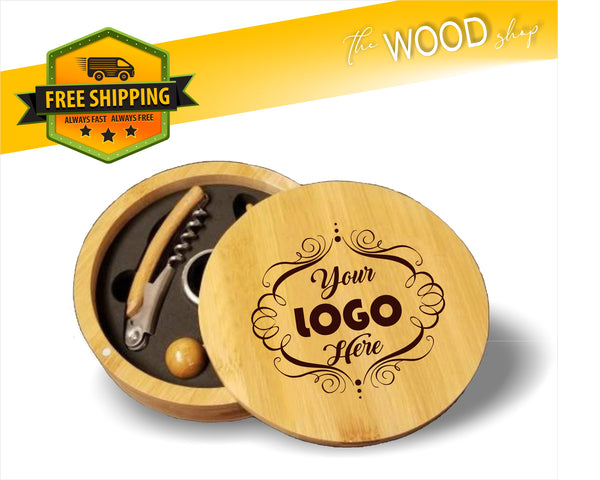 Custom Logo Or Design - Round Bamboo 4-Piece Wine Tool Set - Laser Light Industries