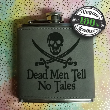 Vegan Leather Flask: Dead Men Tell No Tales