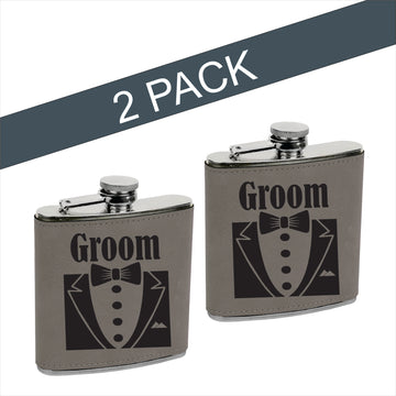 Vegan Leather Flask: GROOM & GROOM (2 Pack)