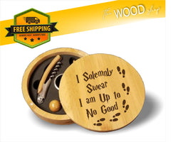 I Solemnly Swear That I Am Up To No Good (Harry Potter Inspired) - Round Bamboo 4-Piece Wine Tool Set