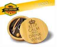 Keep Calm And Drink Wine - Round Bamboo 4-Piece Wine Tool Set - Laser Light Industries