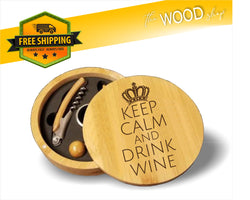 Keep Calm And Drink Wine - Round Bamboo 4-Piece Wine Tool Set