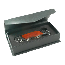 Black Pocket Knife Box with Folding Lid