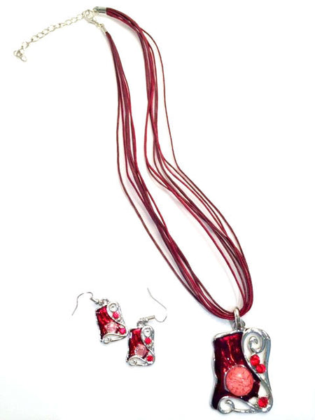 Spanish Flair Necklace and Earring Set Red # 25