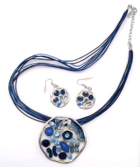 Spanish Flair Necklace and Earring Set Dark Blue # 27
