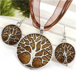 Life Giving Tree Pendant Necklace and Drop Earring Set