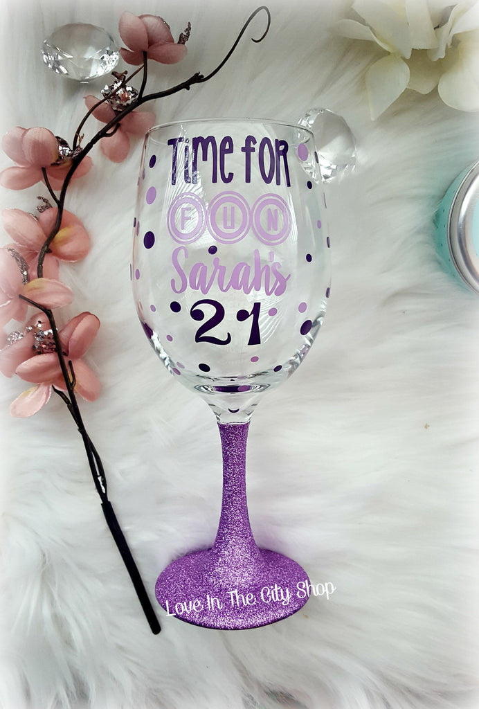 Custom 21st Birthday Wine Glass - love-in-the-city-shop
