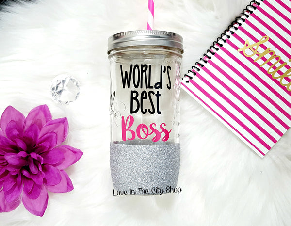 World's Best Boss Tumbler (Glass Tumbler) - love-in-the-city-shop