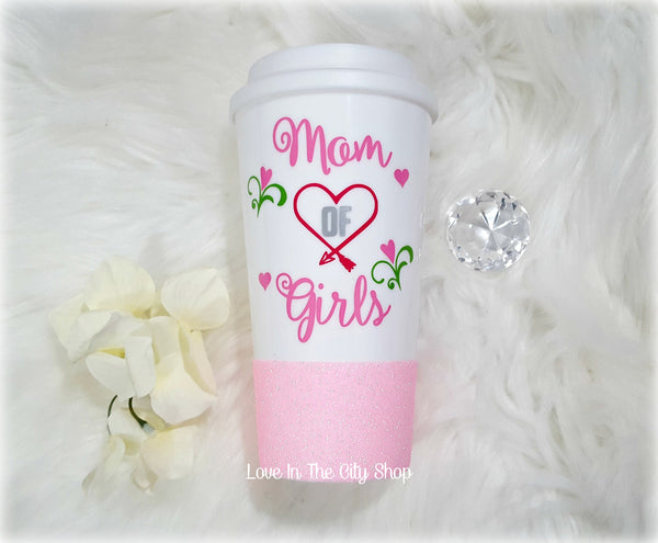 Mom of Girls Travel Mug - love-in-the-city-shop