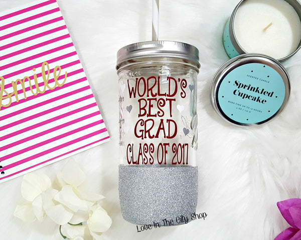 Graduation Tumbler (Glass Tumbler) - love-in-the-city-shop