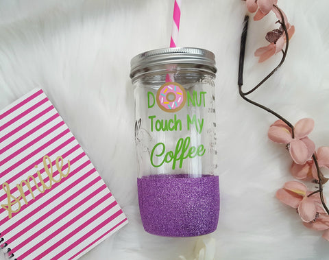 Donut Touch My Coffee Tumbler (Glass Tumbler) - love-in-the-city-shop