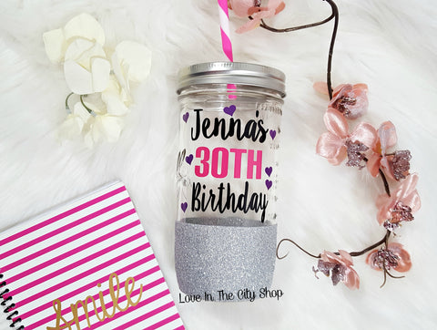 30th Tumbler (Glass Tumbler) - love-in-the-city-shop
