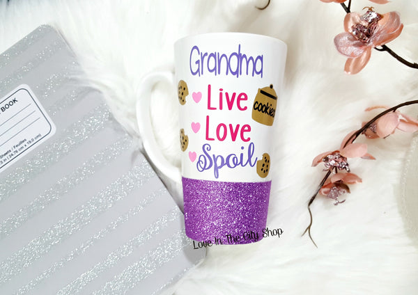 Grandma Mug, Live, Love, Spoil - Latte Mug - love-in-the-city-shop