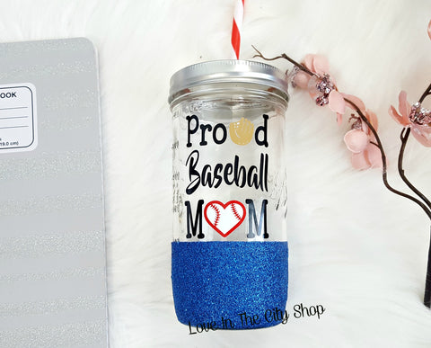 Baseball Mom Tumbler (Glass Tumbler) - love-in-the-city-shop