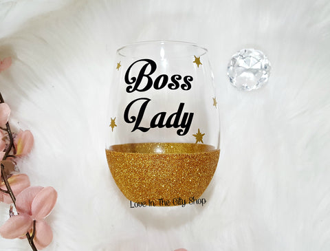 Boss Lady Wine Glass - love-in-the-city-shop