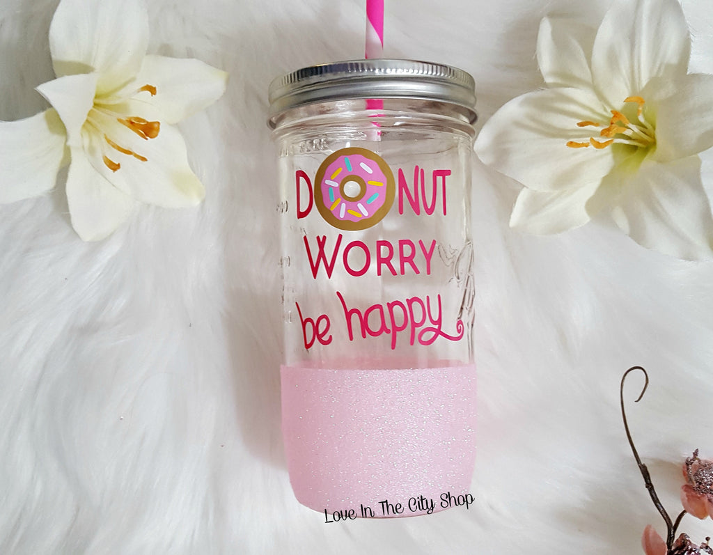 Donut Worry Be Happy Tumbler (Glass Tumbler) - love-in-the-city-shop