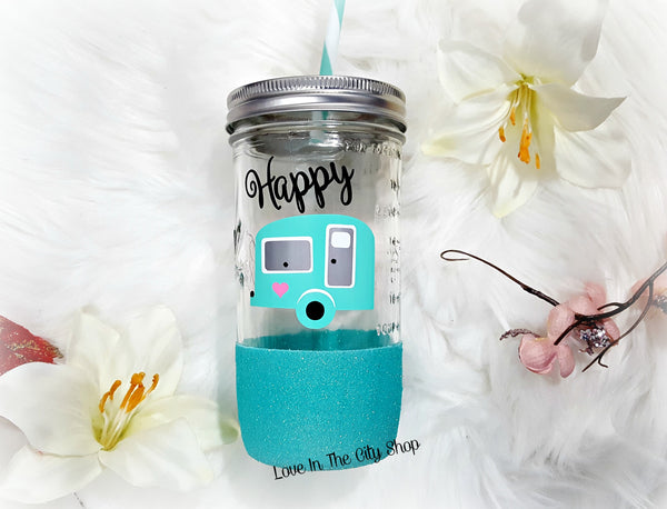 Happy Camper Tumbler (Glass Tumbler) - love-in-the-city-shop
