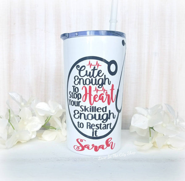 Cute Enough to Stop Your Heart Metal Tumbler (Mini Tumbler) - love-in-the-city-shop