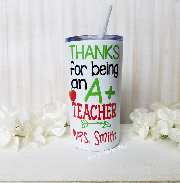 A+ Teacher Apple Metal Tumbler (Mini Tumbler) - love-in-the-city-shop