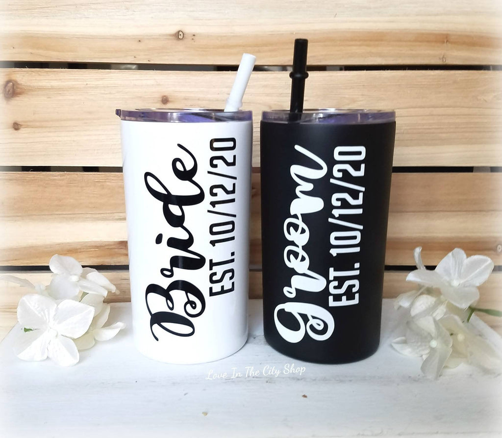 Bride and Groom Metal Tumbler (Mini Tumbler) - love-in-the-city-shop
