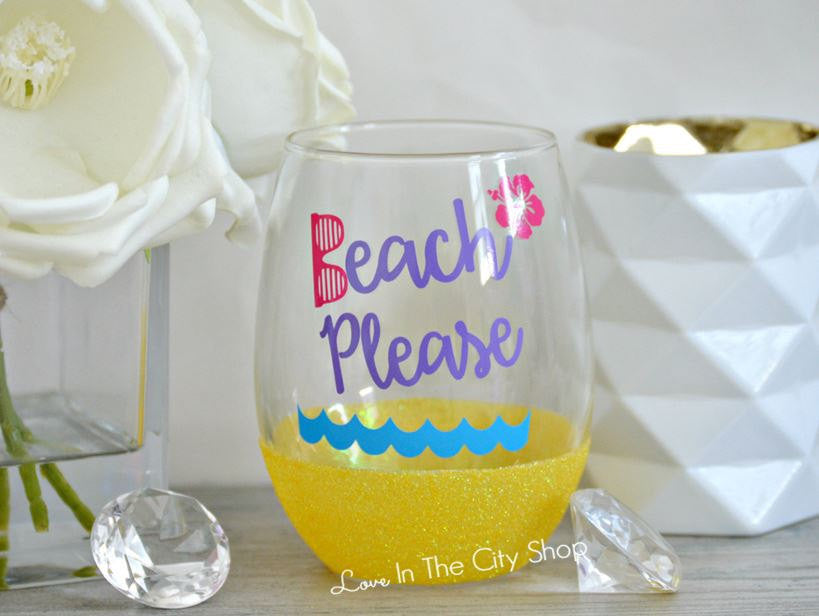 Beach Please Wine Glass - love-in-the-city-shop