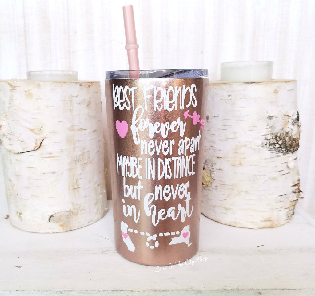 Best Friends Long Distance Metal Tumbler (Mini Tumbler) - love-in-the-city-shop