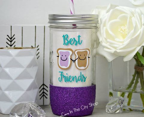 Peanut Butter and Jelly Best Friend Glass Tumbler - love-in-the-city-shop