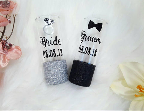 Bride and Groom Wedding Shot Glasses - love-in-the-city-shop